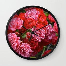 Pink rose bush Wall Clock