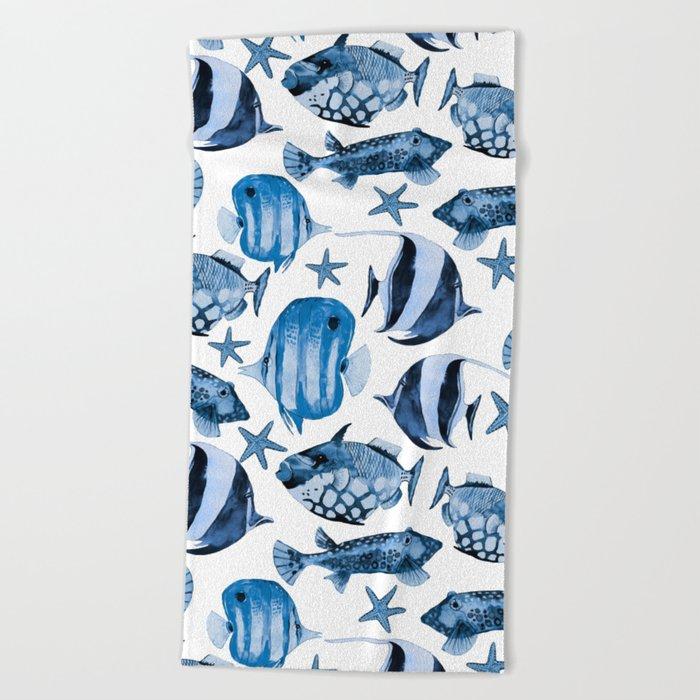 Fish Underwater Watercolor Pattern Beach Towel