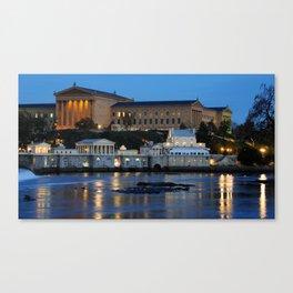 Philadelphia Art Museum and Fairmount Water Works at Dusk Canvas Print