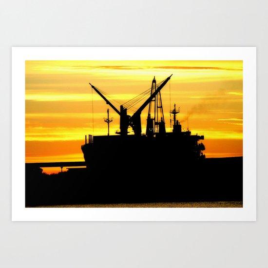 Silhouette of a Fishing Vessel Art Print