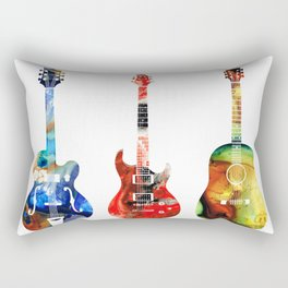 Guitar Threesome - Colorful Guitars By Sharon Cummings Rectangular Pillow