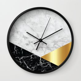 White Marble Black Granite & Gold #944 Wall Clock
