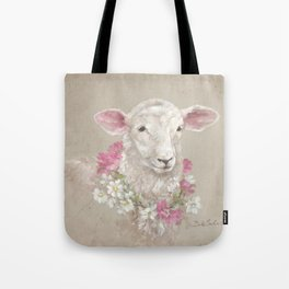 Sheep With Floral Wreath by Debi Coules Tote Bag