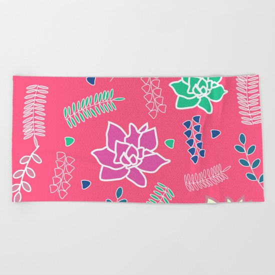 Floral ornament in pink Beach Towel
