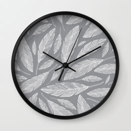 Float Like A Feather - Grey Wall Clock