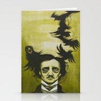 edgar allen poe Stationery Cards featuring Edgar Allen Poe by Meggy Stropki