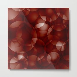 Dark intersecting burgundy translucent circles in bright colors with a brick glow. Metal Print