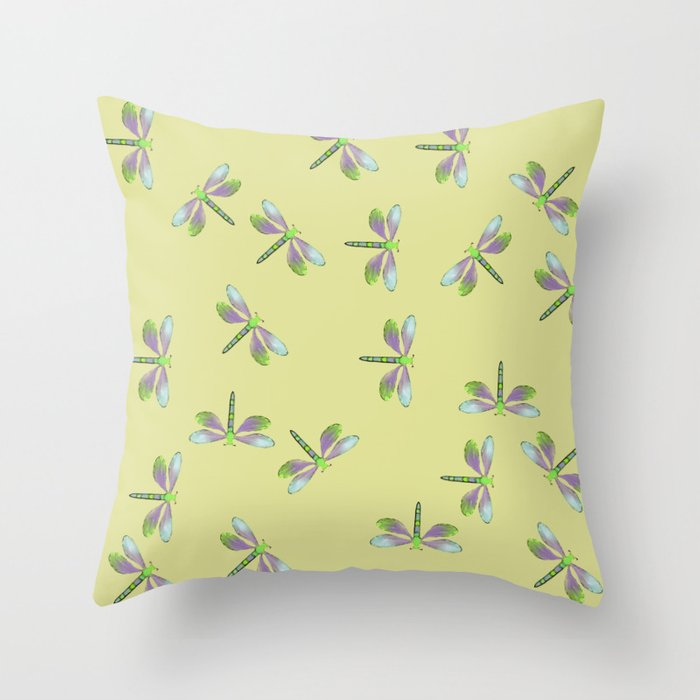 Dragonfly Frenzy Throw Pillow