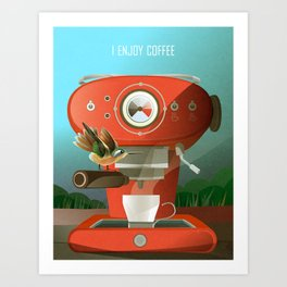 Hummingbird Enjoys Coffee Art Print