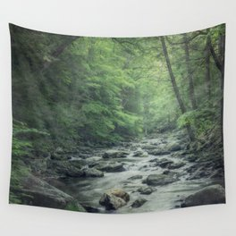 Misty Forest Stream Wall Tapestry
