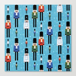 Christmas Nutcracker Soldiers Winter Pattern in Ice Blue Canvas Print