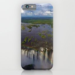 Victoria Falls with Rainbow, Zambia and Zimbabwe, Africa iPhone Case