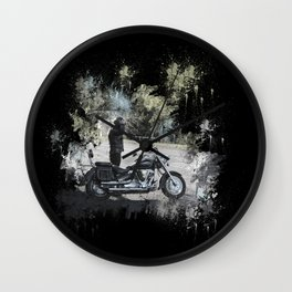 Biker near motorcycle on black Wall Clock