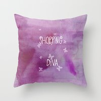 shopping Throw Pillows featuring Shopping Diva by Judith Lee Folde Photography & Art