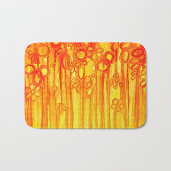 SUMMER SENTIMENTS - Bright Abstract Floral Garden Bold Summer Yellow Red Orange Flowers Painting Bath Mat
