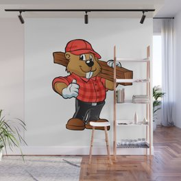 Beaver holding a plank of wood Wall Mural