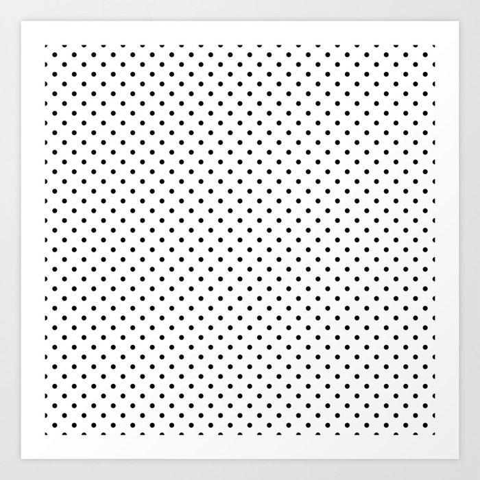 Classic Small Black Polkadots On White Art Print By Honorandobey