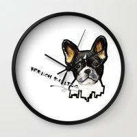 french bulldog Wall Clocks featuring French Bulldog by Det Tidkun