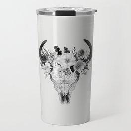 Monochrome Floral bohemian black and white watercolor animal stag head skull boho home wall decor Travel Mug