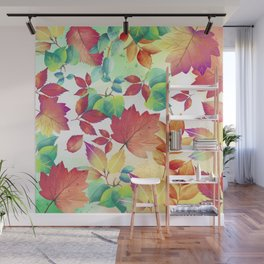 Watercolor Autumn Leaves Wall Mural
