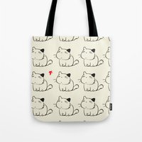 cats Tote Bags featuring cats by ururuty