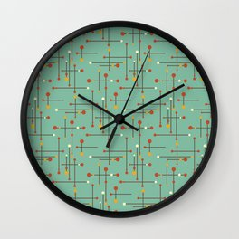 Pins and Needles Mid Century Modern Retro Green Wall Clock
