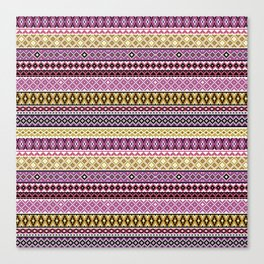 Knitted Series - Violet / Ochre Canvas Print