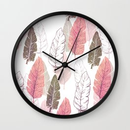 Watercolour Feathers Wall Clock