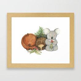Native Australian Animal Babies – With Koala, Wombat And Echidna Framed Art Print