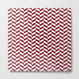 Burgundy Red Herringbone Pattern Metal Print