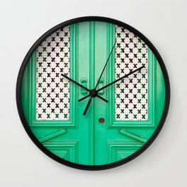 CLOSED GREEN FRENCH DOORS Wall Clock