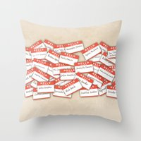 psych Throw Pillows featuring PSYCH.. GUS FUNNY NAMES.. by studiomarshallarts