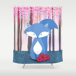 Cute Nursery Fox Flowers Design Shower Curtain