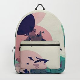 geometric circle and triangle pattern abstract in green orange brown Backpack