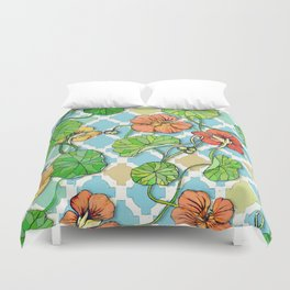 Climbing Nasturtiums on Blue and White Duvet Cover