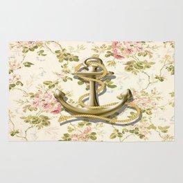 modern vintage beige floral nautical golden anchor Rug