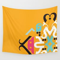 arabic Wall Tapestries featuring Orange Arabic by Farah Saheb
