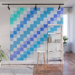 Blue pixel wave Wall Mural