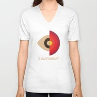 kubrick V-neck T-shirts featuring Stanley Kubrick - 2001: A Space Odessey by MathiasLaustrup