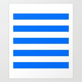 Brandeis blue - solid color - white stripes pattern Art Print