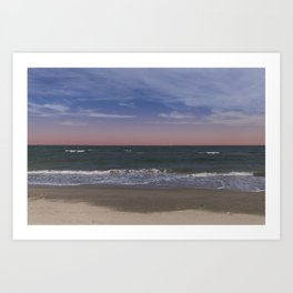 Sea and Beach - Red Sky Art Print
