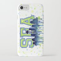 seahawks iPhone & iPod Cases featuring Seattle 12th Man Art Watercolor Space Needle Painting  by Olechka