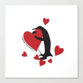 I Love You More! - Penguin and Red Hearts Canvas Print