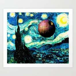 Starry Night Space Collage Art Print