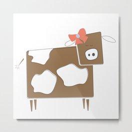 Cow Lady Metal Print