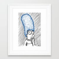 simpson Framed Art Prints featuring Marge Simpson by Axpirine