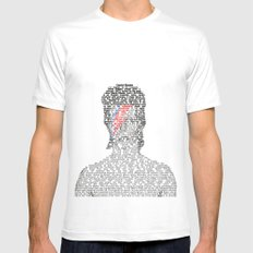 David Bowie Encyclopedia Mens Fitted Tee White MEDIUM