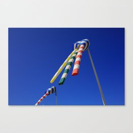 Colorful Flying Wind Flags in Knokke Canvas Print