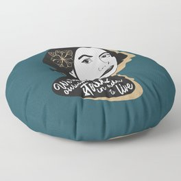 We Tell Stories - Joan Didion - Teal Floor Pillow