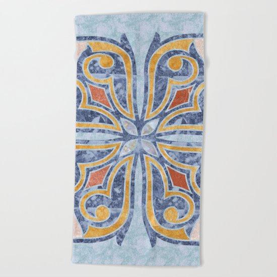 Blue Oriental Tile 04 Beach Towel